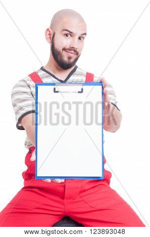 Mechanic Holding A Clipboard With Blank Page