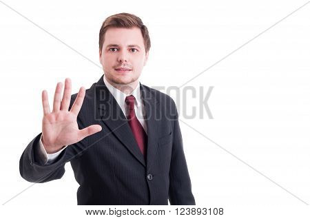 Accountant or businessman showing number five with fingers isolated on white. Stop stay gesture concept