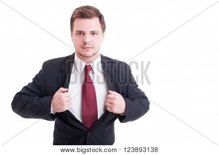 Businessman Showing Chest Acting Powerful As Super Hero
