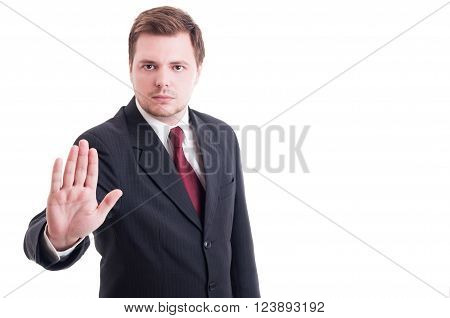 Accountant Or Businessman Showing Stop And Stay Gesture