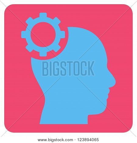 Intellect Gear vector icon. Image style is bicolor flat intellect gear pictogram symbol drawn on a rounded square with pink and blue colors.