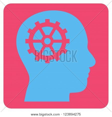 Intellect vector pictogram. Image style is bicolor flat intellect pictogram symbol drawn on a rounded square with pink and blue colors.