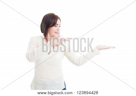 Casual Woman Holding Palm With Empty Blank Copy Space