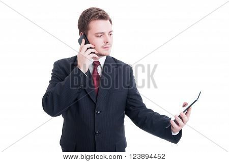 Busy Business Person Using Phone And Tablet As Multitasking Concept