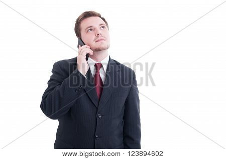 Businessman, Accountant Or Financial Manager Talking On The Phone