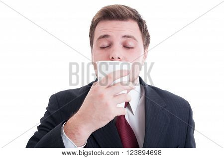 Financial Manager Smelling Fresh Coffee From A Paper Cup