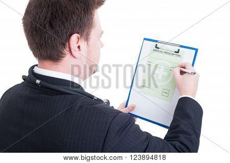 Medic Or Doctor Writing Medical Prescription, Rx Or Recipe