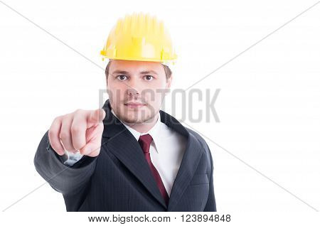 Constructions Employer Or Contractor Pointing Finger To The Camera