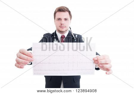Doctor or medic with stethoscope showing ekg isolated on white studio background