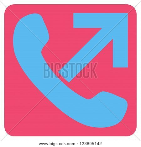 Outgoing Call vector icon symbol. Image style is bicolor flat outgoing call iconic symbol drawn on a rounded square with pink and blue colors.