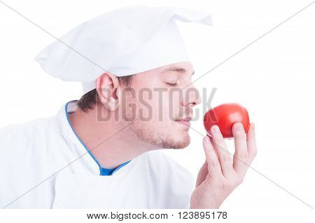 Cook Or Chef Smelling Small Fresh Organic Perfect Red Tomato