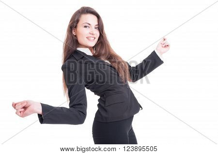 Happy Business Woman Dancing Excited And Enthusiastic