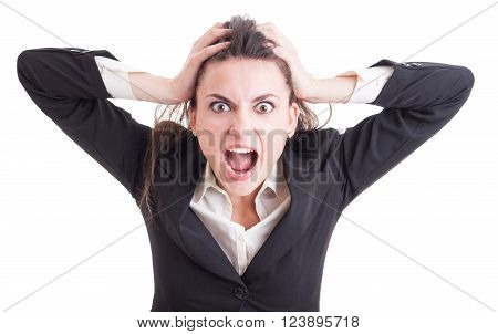 Young Business Woman Acting Crazy After Stress Yelling And Shouting