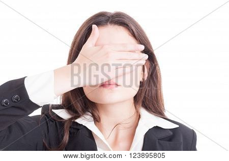 Business Woman, Inspector, Auditor Or Supervisor Woman Covering Eyes