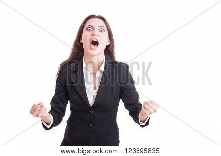 Angry Business Woman Yelling And Shouting Like Crazy Showing Rage