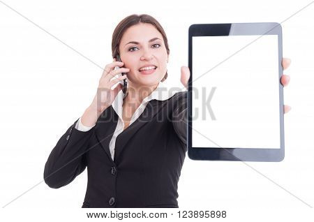 Elegant Sales Woman Showing Tablet With Blank Display