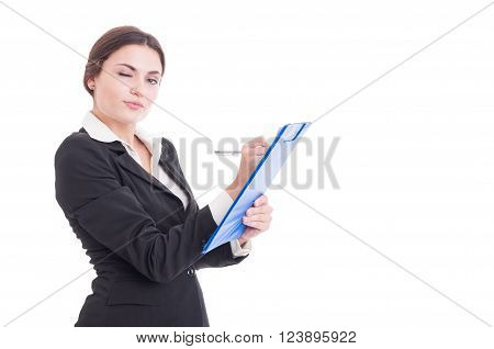 Sexy And Young Woman Supervisor Writing On Clipboard