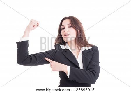 Strong And Confident Business Woman Flexing Arm And Showing Power