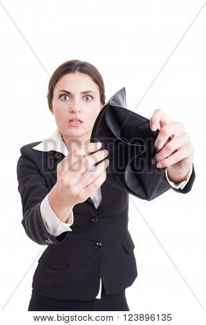 Scared And Surprised Business Woman Showing Empty Wallet
