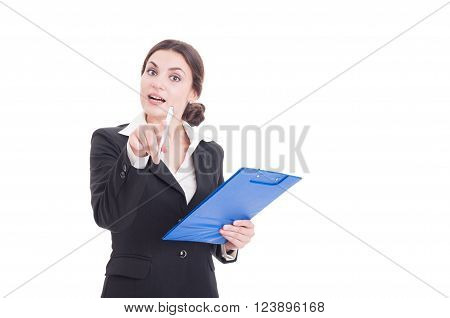 Woman Supervisor Or Inspector Holding Clipboard Pointing Finger To Camera