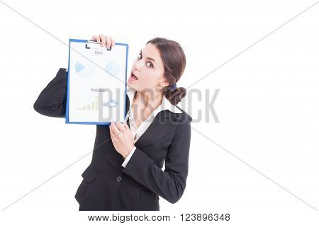 Sales Woman Or Marketing Manager Presenting Financial Analysis