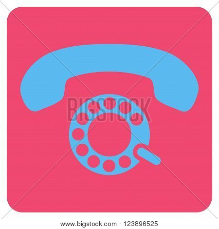 Pulse Dialing vector icon. Image style is bicolor flat pulse dialing iconic symbol drawn on a rounded square with pink and blue colors.