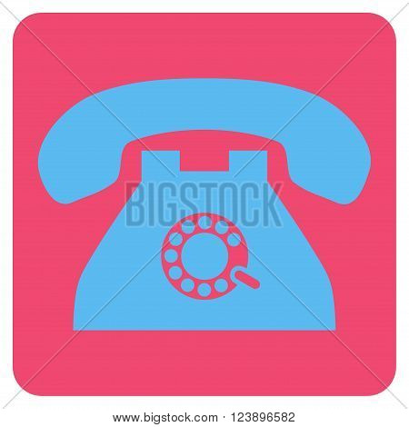 Pulse Phone vector icon symbol. Image style is bicolor flat pulse phone iconic symbol drawn on a rounded square with pink and blue colors.