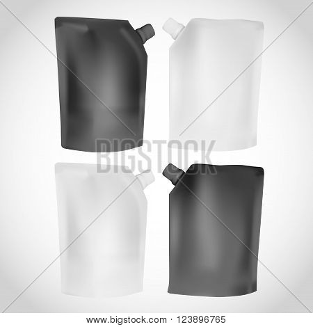 White And Black Plastic Blank Spouted Pouch Template For Puree, Beverage, Cosmetics. Mock Up Packagi