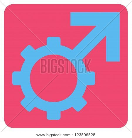 Technological Potence vector icon symbol. Image style is bicolor flat technological potence pictogram symbol drawn on a rounded square with pink and blue colors.