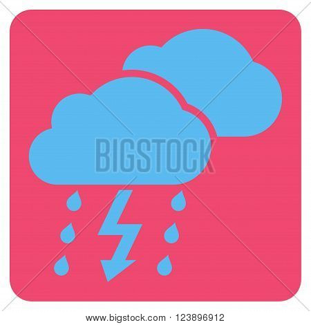 Thunderstorm vector symbol. Image style is bicolor flat thunderstorm pictogram symbol drawn on a rounded square with pink and blue colors.
