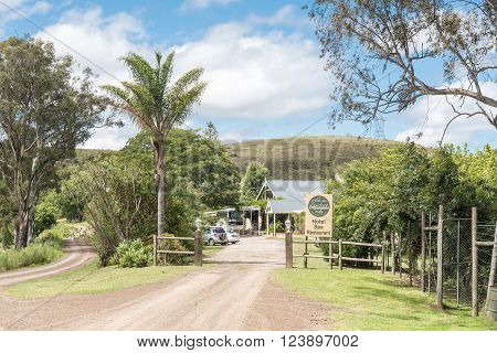 SUURBERGPAS SOUTH AFRICA - FEBRUARY 21 2016: An hotel on the southern part of the historic Suurberg Pass in the Eastern Cape Province. The pass is the road to the left