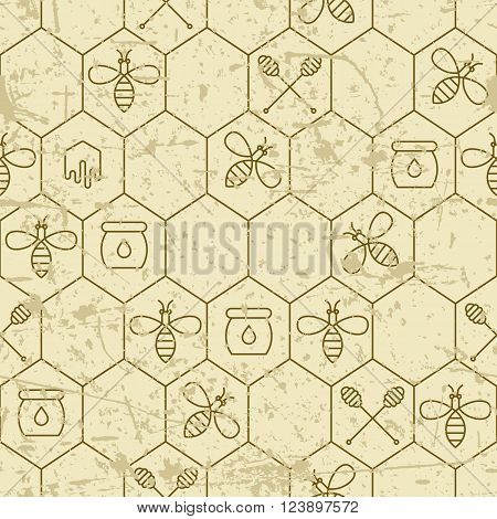 Vector Grunge Seamless Pattern With Linear Bees, Honeycombs, Honey Dipper Symbol