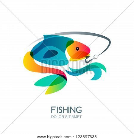 Abstract Colorful Fish And Fishing Hook. Vector Fishing Logo, Label, Emblem Design Elements.