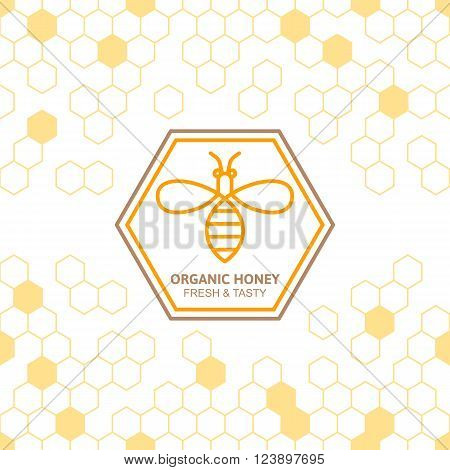 Outline Bee Vector Symbol And Seamless Background With Honeycombs.