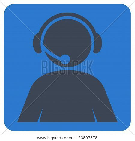 Call Center Operator vector icon symbol. Image style is bicolor flat call center operator pictogram symbol drawn on a rounded square with smooth blue colors.