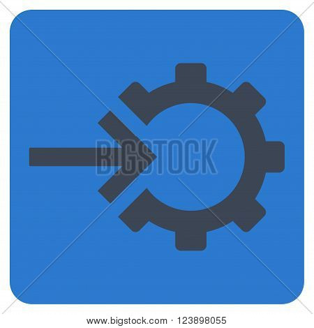 Cog Integration vector icon. Image style is bicolor flat cog integration pictogram symbol drawn on a rounded square with smooth blue colors.