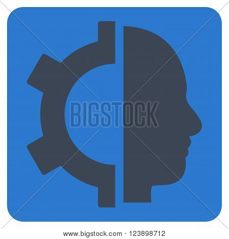 Cyborg Gear vector icon. Image style is bicolor flat cyborg gear iconic symbol drawn on a rounded square with smooth blue colors.