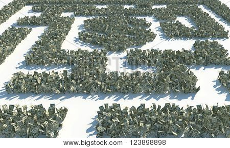Maze of green dollar bills. The shape of the maze of US money. On a white background.