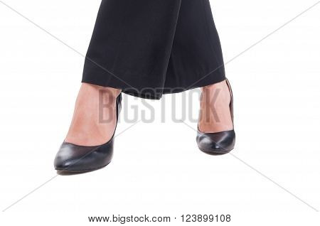 Closeup With Business Woman Legs Crossed Isolated On White