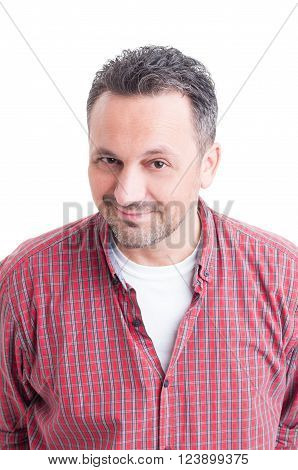 Potrait of a handsome man with friendly face wearing casual checkered shirt isolated on white background