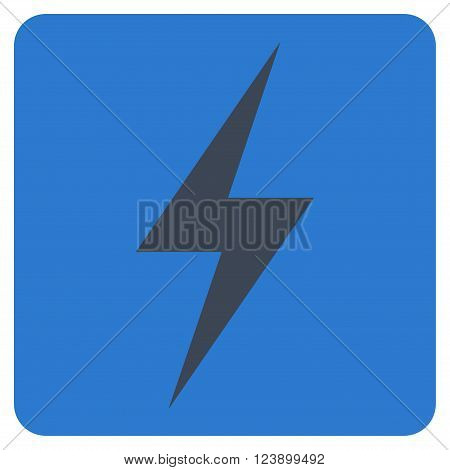Electricity vector symbol. Image style is bicolor flat electricity iconic symbol drawn on a rounded square with smooth blue colors.