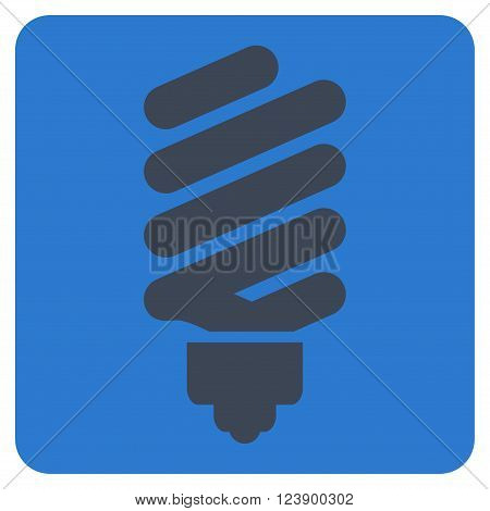 Fluorescent Bulb vector pictogram. Image style is bicolor flat fluorescent bulb pictogram symbol drawn on a rounded square with smooth blue colors.