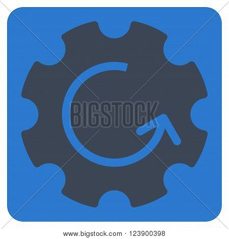Gear Rotation vector icon symbol. Image style is bicolor flat gear rotation icon symbol drawn on a rounded square with smooth blue colors.