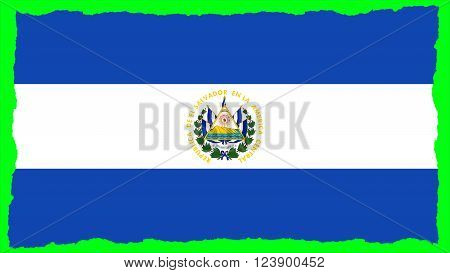 Flag of El Salvador painted on paper texture