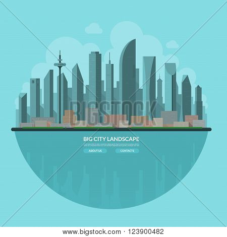 Modern city landscape. Urban landscape background. Cityscape. Skyline of an abstract big city. Skyscrappers, towers, buildings, embankment. Flat design vector illustration.