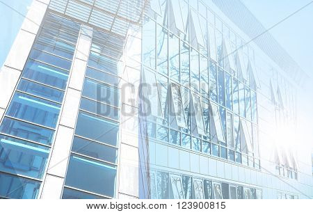 double exposure background of moder office buildings business concept