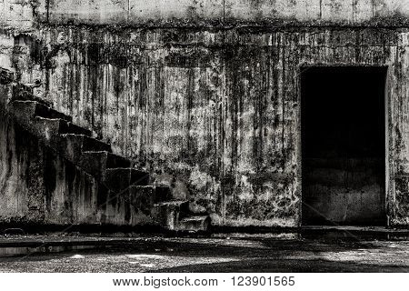 Abandoned building ghost living place darkness horror and halloween background concept