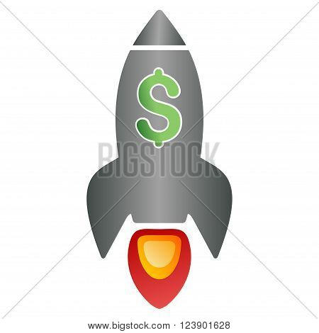 Business Rocket Launch vector toolbar icon for software design. Style is a gradient icon symbol on a white background.