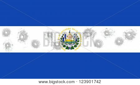 Flag of El Salvador with glass bullet holes
