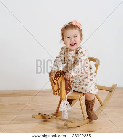 Happy Little Girl And Horse - Rocking Chair